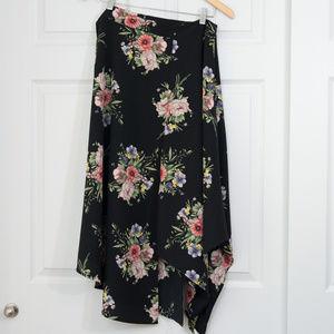 TopShop Asymmetrical Dark Floral Skirt